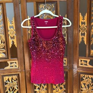 Express Red Holographic Sequin Tank Size M